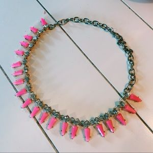 BaubleBar Jewelry - Hot Pink & Silver Short Statement Nacklace